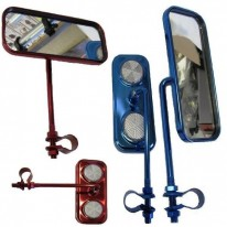 MIRRORS - LARGE STEEL CLAMP-ON - BLUE & RED