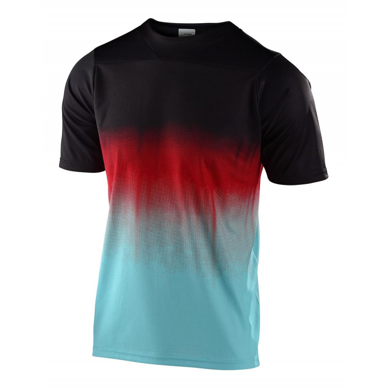Troy Lee Designs Men's Skyline SS Jersey Stain'd Black / Turquoise