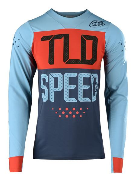 Troy Lee Designs Men's Skyline L/S Jersey Speedshop Stone Blue / Clay