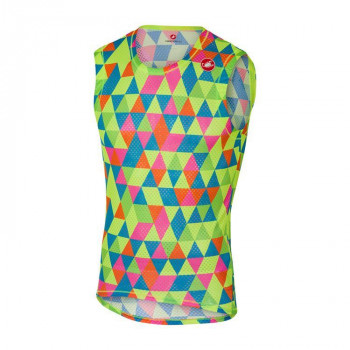 Castelli Men's Pro Mesh Sleeveless Vest Multi Flu
