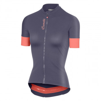 Castelli Women's Anima 2 FZ Jersey Dark Steel/Blue/Salmon