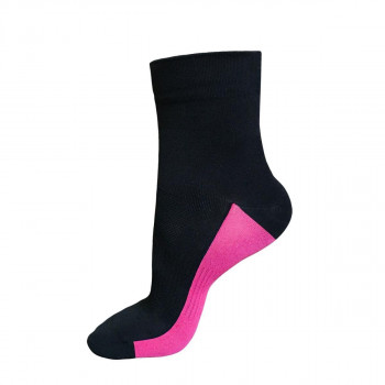 Funkier Arezzo Short Seamless Cushion Socks Black/Pink
